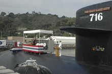 U.S. Navy photo | Part of the deck and conning tower of the USS Salt Lake City is visible during a 2005 inactivation ceremony for the submarine. A Utah veterans group hopes to bring the sub's deck and conning tower to Salt Lake City to create a monument.
