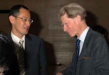 In this April, 2008 photo, Kyoto University Professor Shinya Yamanaka, left, and British researcher John Gurdon exchange words as they attend a symposium on induced pluripotent stem cell in Tokyo.  Gurdon and Yamanaka of Japan won this year's Nobel Prize in physiology or medicine on Monday, Oct. 8, 2012 for discovering that mature, specialized cells of the body can be reprogrammed into stem cells - a discovery that scientists hope to turn into new treatments. (AP Photo/Kyodo News)