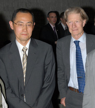 In this April, 2008 photo, Kyoto University Professor Shinya Yamanaka, left, and British researcher John Gurdon attend a symposium on induced pluripotent stem cell in Tokyo.  Gurdon and Yamanaka of Japan won this year's Nobel Prize in physiology or medicine on Monday, Oct. 8, 2012 for discovering that mature, specialized cells of the body can be reprogrammed into stem cells - a discovery that scientists hope to turn into new treatments. (AP Photo/Kyodo News)