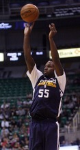 Kim Raff | The Salt Lake Tribune Kevin Murphy takes a jump shot during the Jazz Scrimmage at EnergySolutions Arena in Salt Lake City, Utah on October 6, 2012.