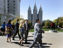 Scott Sommerdorf  |  The Salt Lake Tribune              Young people walk by the LDS Temple on their way to the 182nd Semiannual General Conference, Saturday, October 6, 2012.