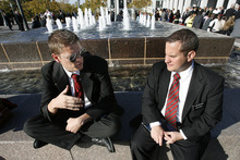 Scott Sommerdorf  |  The Salt Lake Tribune              Elder Andrew Montierth, 21, left, a missionary from Arizona and Elder Brett Henthorn, also 21, a fellow LDS missionary from Washington state, sit outside the 182nd Semiannual General Conference, Saturday, October 6, 2012.