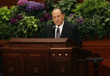 Scott Sommerdorf  |  The Salt Lake Tribune              President Thomas S. Monson addresses the 182nd Semiannual General Conference, Saturday, October 6, 2012. He announced the lowering of age miniumums for LDS missionaries. For young men the age is now 18, and for women it is now 19, effective immediately.