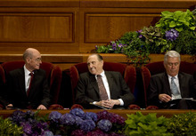 Kim Raff  |  The Salt Lake Tribune President Henry B. Eyring, left, LDS President Thomas S. Monson and President Dieter F. Uchtdorf talk before the afternoon session of the 182nd Semiannual General Conference of the LDS Church in Salt Lake City on Sunday, October 7, 2012.