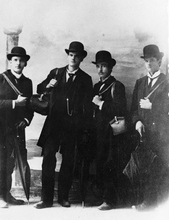 Photo Courtesy Utah Historical Society  Early Mormon missionaries.