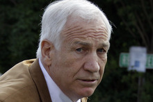 FILE - This June 22, 2012 file photo shows former Penn State assistant football coach Jerry Sandusky arriving at the Centre County Courthouse in Bellefonte, Pa. A key witness _ Victim 1 _ against Sandusky has a book deal and will soon reveal his identity. Ballantine Bantem Dell announced Thursday, Sept. 27, 2012,  that the book is coming out Oct. 23.  (AP Photo/Gene J. Puskar, File)