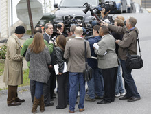 Joe Amendola, attorney for former Penn State University assistant football coach Jerry Sandusky, speaks with members of the media after a pre-sentencing conference at the Centre County Courthouse, Monday, Oct. 8, 2012, in Bellefonte, Pa. Sandusky is scheduled to be sentenced Tuesday for sexually abusing 10 boys in a scandal that rocked the university and brought down coach Joe Paterno. (AP Photo/Matt Rourke)
