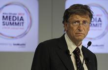 Microsoft founder and philanthropist Bill Gates speaks during the opening session of  the Abu Dhabi Media Summit in United Arab Emirates, Tuesday Oct. 9, 2012. (AP Photo/Kamran Jebreili)