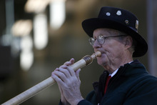 Francisco Kjolseth  |  The Salt Lake Tribune Robert Cameron of Brighton plays the alphorn as he welcomes those gathering for the unveiling of a new fire station. The Unified Fire Authority opened its new fire station in Big Cottonwood Canyon on Tuesday, Oct. 9, 2012, just below Brighton Resort and the start of Guardsman Pass.