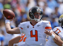 Oregon State quarterback Sean Mannion passes during the first half of their NCAA college football game against UCLA, Saturday, Sept. 22, 2012, in Pasadena, Calif. (AP Photo/Mark J. Terrill)
