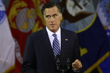Republican presidential candidate and former Massachusetts Gov. Mitt Romney  delivers a foreign policy speech at Virginia Military Institute (VMI) in Lexington, Va., Monday, Oct. 8, 2012. (AP Photo/Charles Dharapak)