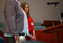 Stephanie Sloop, who is charged with capital murder in connection with the death of her son, Ethan Stacy, attends a court hearing Tuesday, August 14, 2012 at 2nd District Court in Farmington, Utah. (NICK SHORT/Standard-Examiner)