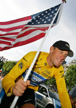 FILE - In this July 24, 2005  file photo, Lance Armstrong, of Austin, Texas, carries the United States flag during a victory parade on the Champs Elysees avenue in Paris, after winning his seventh straight Tour de France cycling race. The world may soon know what the U.S. Anti-Doping Agency has on Armstrong. USADA has said it had 10 former teammates ready to testify against Armstrong before he chose not to take his case to an arbitration hearing. The list likely includes previous Armstrong accusers Floyd Landis and Tyler Hamilton. (AP Photo/Peter Dejong, File)