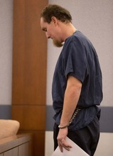 Michael Belton waits to be sentenced in Clark County district court, Wednesday, Oct. 10, 2012, in Las Vegas. Belton received 2 to 5 years in state prison for  a botched pepper spray grab-and-run casino chip heist at the Bellagio Hotel-Casino. (AP Photo/Julie Jacobson)