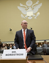 Eric Nordstrom, a regional security officer with the State Department, arrives on Capitol Hill in Washington, Wednesday, Oct. 10, 2012, to testify as the House Oversight and Government Reform Committee hearing on the attack on the American consulate in Benghazi, Libya, that resulted in the death of U.S. Ambassador Christopher Stevens and other Americans. (AP Photo/J. Scott Applewhite)