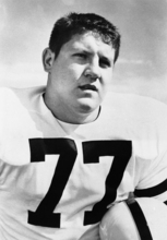 FILE - This 1956 file photo shows Iowa tackle Alex Karras. Karras, who gained fame in the NFL as a fearsome defensive lineman and later as an actor, has died. He was 77. Craig Mitnick, Karras' attorney, said Karras died at home in Los Angeles on Wednesday, Oct. 10, 2012, surrounded by family. (AP Photo, File)