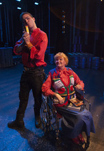 Steve Griffin | The Salt Lake Tribune   J.C. Ernst, standing, and Annette Wright, in a scene from SLAC's upcoming play