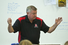 Chris Detrick  |  The Salt Lake Tribune John Miller conducts members of the Wind Symphony during a rehearsal at American Fork High School Wednesday Oct. 10, 2012. The symphony, along with the University of Utah Wind Ensemble, will perform a special concert in honor of Heather Christensen on Oct. 23 on the university's campus.