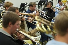 Chris Detrick  |  The Salt Lake Tribune Members of the Wind Symphony perform during a rehearsal at American Fork High School Wednesday Oct. 10, 2012. The symphony, along with the University of Utah Wind Ensemble, will perform a special concert in honor of Heather Christensen on Oct. 23 on the university's campus.