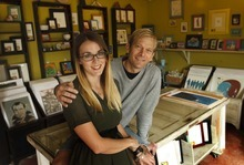 Leah Hogsten  |  The Salt Lake Tribune Phil Sherburne and Leia Bell are owners of Signed and Numbered, which makes 40-50 frames a day.