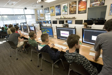 Paul Fraughton | The Salt Lake Tribune Students at Innovations High School work on computers in a 3-D design class.   Tuesday, October 9, 2012