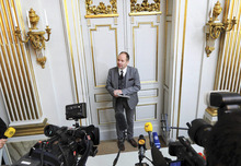Peter Englund, permanent secretary of the Royal Swedish Academy, announces that Chinese writer Mo Yan has been named the winner of the 2012 Nobel Prize in literature, Thursday Oct. 11, 2012 in Stockholm. The Swedish Academy, which selects the winners of the prestigious award, in Thursday praised Mo's