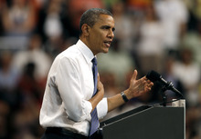President Barack Obama speaks during a campaign event at the University of Miami, Thursday, Oct. 11, 2012, in Coral Gables, Fla. (AP Photo/Lynne Sladky)