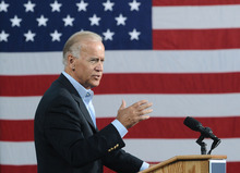 Vice President Joe Biden speaks at the Institute for Advanced Research and Learning in Danville, Va. on Tuesday, Aug. 14, 2012. (AP Photo/The Register & Bee, Steven Mantilla)