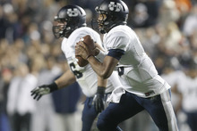 Chris Detrick  |  The Salt Lake Tribune Utah State Aggies quarterback Chuckie Keeton (16) looks to throw the ball during the first half of the game at LaVell Edwards Stadium Friday October 5, 2012. BYU is winning the game 6-3.