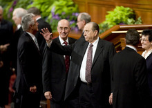 Kim Raff  |  The Salt Lake Tribune LDS President Thomas S. Monson waves to the audience as he leaves the afternoon session during 182nd Semiannual General Conference of the LDS Church in Salt Lake City on Sunday, October 7, 2012.