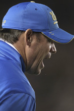 UCLA head coach Jim Mora argues with the referees after a call against California during the first half of an NCAA college football game in Berkeley, Calif., Saturday, Oct. 6, 2012. (AP Photo/Tony Avelar)
