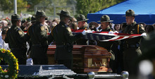 Francisco Kjolseth  |  The Salt Lake Tribune U.S. Customs and Border Patrol agents fold the flag over the casket of border patrol agent Nicholas Ivie after arriving at the Spanish Fork Cemetery surrounded by friends, family, and numerous service agencies on Thursday, October 11, 2012.
