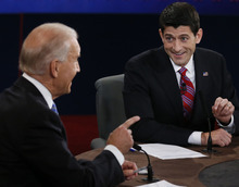 Vice President Joe Biden and Republican vice presidential nominee Rep. Paul Ryan of Wisconsin participate in the vice presidential debate at Centre College, Thursday, Oct. 11, 2012, in Danville, Ky. (AP Photo/Pool-Rick Wilking)