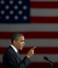 President Barack Obama speaks at a campaign event, Thursday, Oct. 11, 2012, in Miami. (AP Photo/Carolyn Kaster)