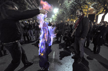 FILE - Demonstrators burn an EU flag in this file photo dated Thursday Nov. 17, 2011, in Thessaloniki, Greece.  It is announced Friday Oct. 12, 2012, that the European Union has been awarded the Nobel Peace Prize for its efforts to promote peace and democracy in Europe, in the midst of the union's biggest crisis since its creation in the 1950s. The Norwegian prize committee said the EU receives the award for six decades of contributions
