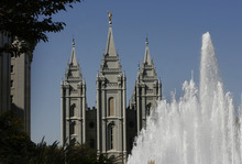 This Saturday, Oct. 6, 2012 photo shows the LDS Temple before the start of the afternoon session of the 182nd Semiannual General Conference for The Church of Jesus Christ of Latter-day Saints in Salt Lake City. (AP Photo/The Salt Lake Tribune, Scott Sommerdorf)