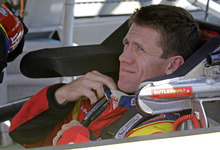 Carl Edwards prepares for practice for Saturday's NASCAR Bank of America 500 Sprint Cup series auto race in Concord, N.C., Friday, Oct. 12, 2012. (AP Photo/Chuck Burton)
