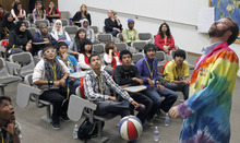 Al Hartmann  |  The Salt Lake Tribune High school students watch an experiment Friday during a physics workshop given by University of Utah lecture demonstration specialist Adam Beehler, right, during the 2nd annual Refugee Youth Conference that brought together more than 200 refugee students from Granite, Canyons and Salt Lake school districts to learn about the importance of education, particularly higher education.