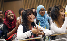 Al Hartmann  |  The Salt Lake Tribune High school students react to the physics workshop Friday given by University of Utah lecture demonstration specialist Adam Beehler during the 2nd annual Refugee Youth Conference that brought together more than 200 refugee students from Granite, Canyons and Salt Lake school districts to learn about the importance of education, particularly higher education.