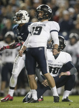 Chris Detrick  |  The Salt Lake Tribune Utah State Aggies kicker Josh Thompson (19) misses a field goal attempt which would have tied the score at 6-6 during the second half of the game at LaVell Edwards Stadium Friday October 5, 2012. BYU won the game 6-3.