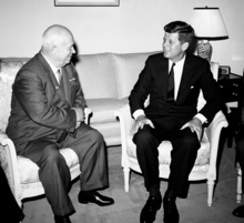 Soviet Premier Nikita Khrushchev and President John F. Kennedy talk June 3, 1961 in the residence of the U.S. Ambassador in a suburb of Vienna. Fifty years after the Cuban missile crisis, the National Archives in Washington has pulled together documents and secret White House recordings to show the public how President John F. Kennedy deliberated to avert nuclear war. The exhibit is called