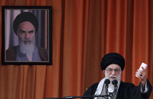 In this photo released by an official website of the Iranian supreme leader's office, Iranian supreme leader Ayatollah Ali Khamenei, speaks at a public gathering on his tour to the northeastern city of Bojnourd, Iran, Wednesday, Oct. 10, 2012. Iran's top leader said Wednesday that European countries are