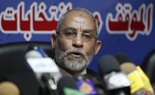 FILE - In this Saturday, Oct. 9, 2010 file photo, Mohammed Badie speaks during a press conference at the group's parliamentary office in Cairo, Egypt. A leading Jewish organization is calling Saturday, Oct. 13, 2012 on the White House to cut contacts with Egypt's most powerful political movement, the Muslim Brotherhood, over anti-Semitic remarks attributed to its spiritual guide. Mohammed Badie said that Jews were spreading