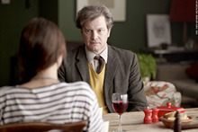 Colin Firth confronts Keira Knightley (back to camera) in Rupert Friend's