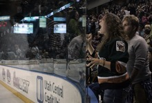 Kim Raff   The Salt Lake Tribune Utah Grizzlies fan Mistie Anderson cheers when Paul McIlveen scores a goal against the Idaho Steelheads during the Grizzlies home opener at the Maverick Center in West Valley City, Utah on October 13, 2012.