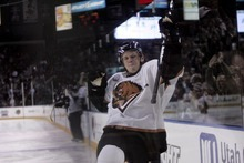 Kim Raff   The Salt Lake Tribune Utah Grizzlies player Colin Vock celebrates scoring a goal against the  Idaho Steelheads during the Grizzlies home opener at the Maverick Center in West Valley City, Utah on October 13, 2012.