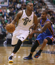 Steve Griffin | The Salt Lake Tribune   Utah's Randy Foye runs the offense as he plays point guard during second half action in the Jazz Thunder preseason game and EnergySolutions Arena in Salt Lake City, Utah Friday October 12, 2012.