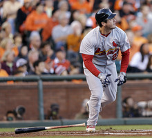 St. Louis Cardinals' David Freese hits a two-run home run during the second inning of Game 1 of baseball's National League championship series against the San Francisco Giants Sunday, Oct. 14, 2012, in San Francisco. (AP Photo/David J. Phillip)