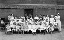 Little Mothers Class outside the Jackson School in 1915. Courtesy Utah State Historical Society