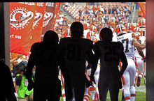 The Cleveland Browns take the field for of an NFL football game against the Cincinnati Bengals Sunday, Oct. 14, 2012, in Cleveland. (AP Photo/Tony Dejak)